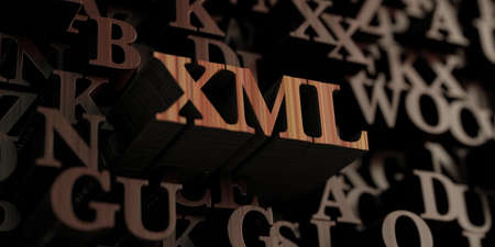 Xml - Wooden 3D rendered lettersmessage.  Can be used for an online banner ad or a print postcard. Stock Photo