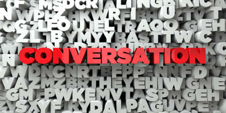 CONVERSATION -  Red text on typography background - 3D rendered royalty free stock image. This image can be used for an online website banner ad or a print postcard.
