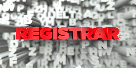 REGISTRAR -  Red text on typography background - 3D rendered royalty free stock image. This image can be used for an online website banner ad or a print postcard.