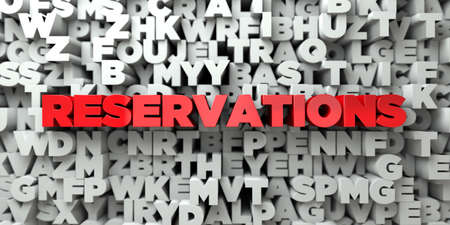 reservations: RESERVATIONS -  Red text on typography background - 3D rendered royalty free stock image. This image can be used for an online website banner ad or a print postcard.