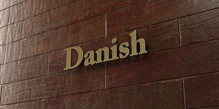 デンマーク語 - ブロンズ プラークはメープル木材壁 - 3 D レンダリングされたロイヤリティ フリーのストック画像にマウントされています。この画