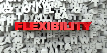 FLEXIBILITY -  Red text on typography background - 3D rendered royalty free stock image. This image can be used for an online website banner ad or a print postcard.