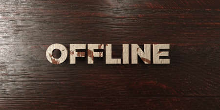 offline: Offline - grungy wooden headline on Maple  - 3D rendered royalty free stock image. This image can be used for an online website banner ad or a print postcard. Stock Photo