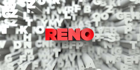 reno: RENO -  Red text on typography background - 3D rendered royalty free stock image. This image can be used for an online website banner ad or a print postcard. Stock Photo