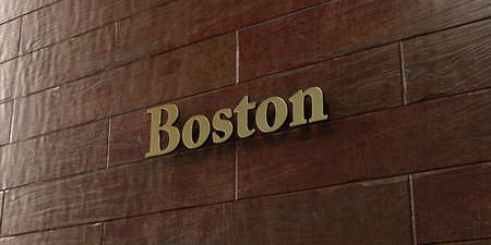 Boston - Bronze plaque mounted on maple wood wall  - 3D rendered royalty free stock picture. This image can be used for an online website banner ad or a print postcard. Stock Photo