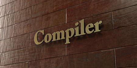 compiler: Compiler - Bronze plaque mounted on maple wood wall  - 3D rendered royalty free stock picture. This image can be used for an online website banner ad or a print postcard. Stock Photo