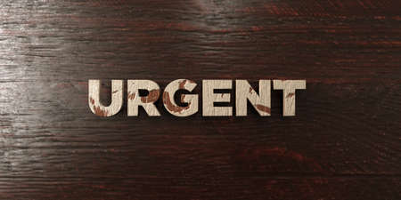 Urgent - grungy wooden headline on Maple  - 3D rendered royalty free stock image. This image can be used for an online website banner ad or a print postcard.