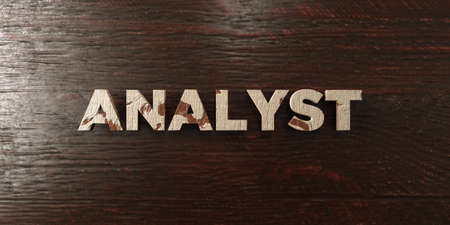 Analyst - grungy wooden headline on Maple  - 3D rendered royalty free stock image. This image can be used for an online website banner ad or a print postcard.