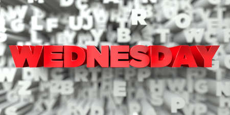 WEDNESDAY -  Red text on typography background - 3D rendered royalty free stock image. This image can be used for an online website banner ad or a print postcard.
