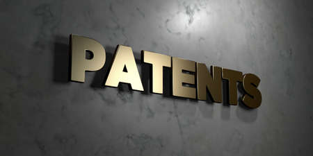 patents: Patents - Gold sign mounted on glossy marble wall  - 3D rendered royalty free stock illustration. This image can be used for an online website banner ad or a print postcard. Stock Photo