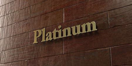 platinum: Platinum - Bronze plaque mounted on maple wood wall  - 3D rendered royalty free stock picture. This image can be used for an online website banner ad or a print postcard.