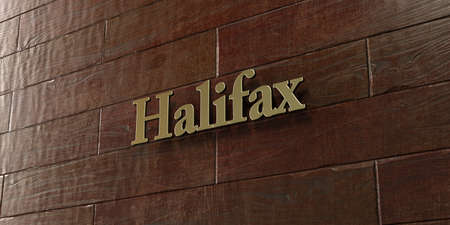 Halifax - Bronze plaque mounted on maple wood wall  - 3D rendered royalty free stock picture. This image can be used for an online website banner ad or a print postcard.