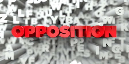 OPPOSITION -  Red text on typography background - 3D rendered royalty free stock image. This image can be used for an online website banner ad or a print postcard. Stock Photo