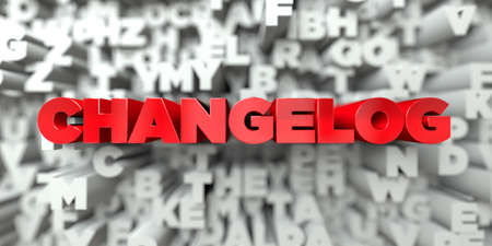 CHANGELOG -  Red text on typography background - 3D rendered royalty free stock image. This image can be used for an online website banner ad or a print postcard. Stock Photo - 72489101