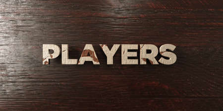 Players - grungy wooden headline on Maple  - 3D rendered royalty free stock image. This image can be used for an online website banner ad or a print postcard.