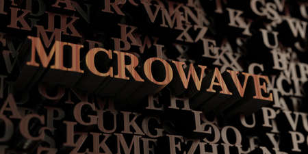 Microwave - Wooden 3D rendered lettersmessage.  Can be used for an online banner ad or a print postcard.