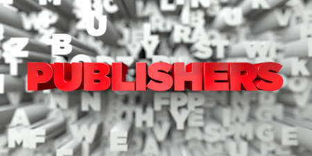 publishers: PUBLISHERS -  Red text on typography background - 3D rendered royalty free stock image. This image can be used for an online website banner ad or a print postcard.