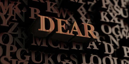 Dear - Wooden 3D rendered lettersmessage.  Can be used for an online banner ad or a print postcard. Banco de Imagens