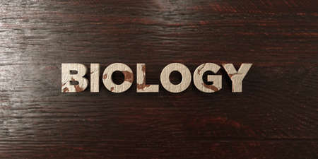 Biology - grungy wooden headline on Maple  - 3D rendered royalty free stock image. This image can be used for an online website banner ad or a print postcard.