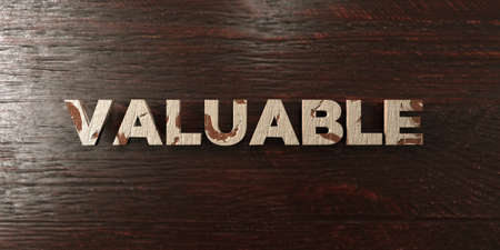 valuable: Valuable - grungy wooden headline on Maple  - 3D rendered royalty free stock image. This image can be used for an online website banner ad or a print postcard.