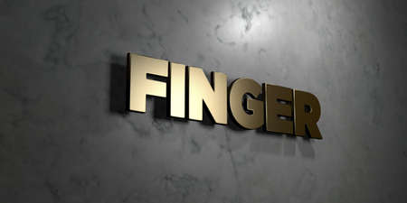 Finger - Gold sign mounted on glossy marble wall  - 3D rendered royalty free stock illustration. This image can be used for an online website banner ad or a print postcard.