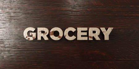 Grocery - grungy wooden headline on Maple  - 3D rendered royalty free stock image. This image can be used for an online website banner ad or a print postcard. Zdjęcie Seryjne