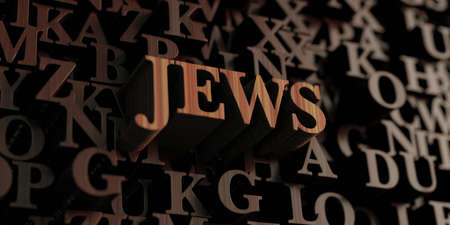 jews: Jews - Wooden 3D rendered lettersmessage.  Can be used for an online banner ad or a print postcard. Stock Photo