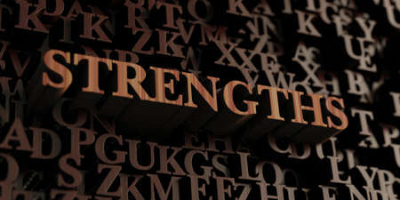 Strengths - Wooden 3D rendered lettersmessage.  Can be used for an online banner ad or a print postcard.