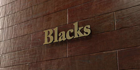 blacks: Blacks - Bronze plaque mounted on maple wood wall  - 3D rendered royalty free stock picture. This image can be used for an online website banner ad or a print postcard.