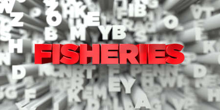 fischerei: FISHERIES -  Red text on typography background - 3D rendered royalty free stock image. This image can be used for an online website banner ad or a print postcard.