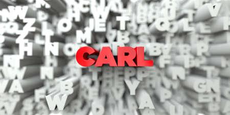 カール - タイポグラフィの背景に赤いテキスト - 3 D レンダリングされたロイヤリティ フリー ストック イメージ。この画像は、オンラインの web サ