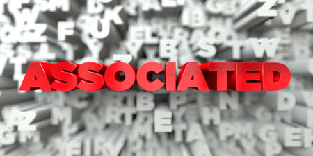 ASSOCIATED -  Red text on typography background - 3D rendered royalty free stock image. This image can be used for an online website banner ad or a print postcard. Zdjęcie Seryjne