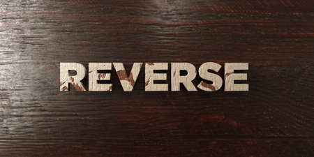 Reverse - grungy wooden headline on Maple  - 3D rendered royalty free stock image. This image can be used for an online website banner ad or a print postcard.