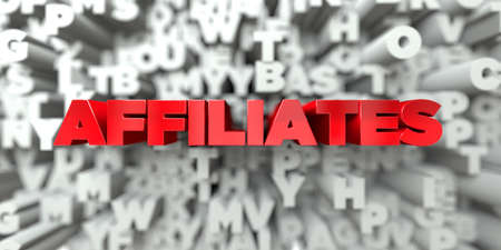 affiliates: AFFILIATES -  Red text on typography background - 3D rendered royalty free stock image. This image can be used for an online website banner ad or a print postcard.