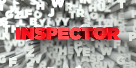 inspector: INSPECTOR -  Red text on typography background - 3D rendered royalty free stock image. This image can be used for an online website banner ad or a print postcard.