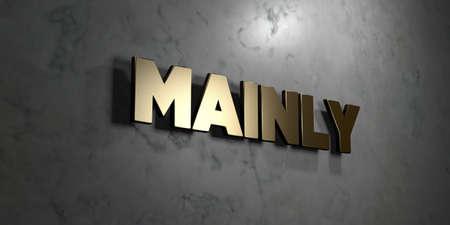 주로 - 광택 대리석 벽에 장착 된 골드 사인온 - 3D 렌더링 된 로열티 무료 재고 그림. 이 이미지는 온라인 웹 사이트 배너 광고 또는 인쇄 엽서에 사용할