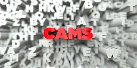 cams: CAMS -  Red text on typography background - 3D rendered royalty free stock image. This image can be used for an online website banner ad or a print postcard.