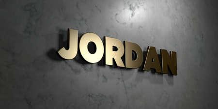 Jordanië - Gouden bord gemonteerd op glanzend marmeren muur - 3D royalty-vrije stock illustratie. Deze afbeelding kan worden gebruikt voor een online-banneradvertentie of een prentkaart.