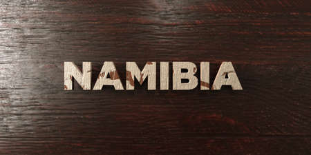 Namibia - grungy wooden headline on Maple  - 3D rendered royalty free stock image. This image can be used for an online website banner ad or a print postcard.