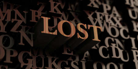 be lost: Lost - Wooden 3D rendered lettersmessage.  Can be used for an online banner ad or a print postcard. Stock Photo