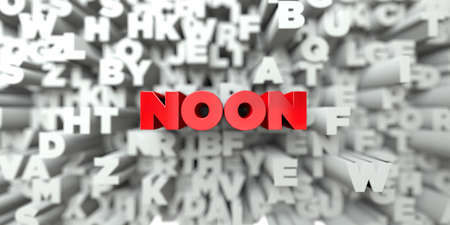 NOON -  Red text on typography background - 3D rendered royalty free stock image. This image can be used for an online website banner ad or a print postcard.