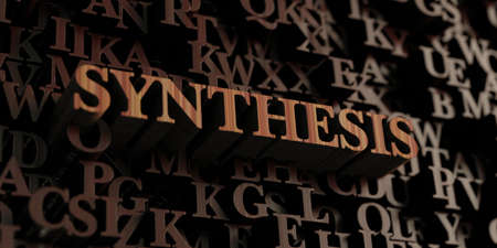 synthesis: Synthesis - Wooden 3D rendered lettersmessage.  Can be used for an online banner ad or a print postcard.