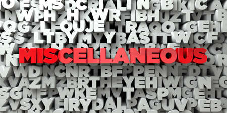 miscellaneous: MISCELLANEOUS -  Red text on typography background - 3D rendered royalty free stock image. This image can be used for an online website banner ad or a print postcard.