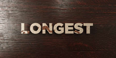 longest: Longest - grungy wooden headline on Maple  - 3D rendered royalty free stock image. This image can be used for an online website banner ad or a print postcard.