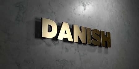 デンマーク語 - ゴールド サインは、光沢のある大理石の壁 - 3 D レンダリングされたロイヤリティ フリー ストック イラスト素材にマウントされてい