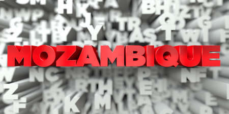 MOZAMBIQUE -  Red text on typography background - 3D rendered royalty free stock image. This image can be used for an online website banner ad or a print postcard. Stock Photo