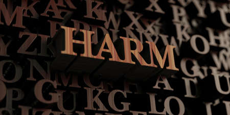harm: Harm - Wooden 3D rendered lettersmessage.  Can be used for an online banner ad or a print postcard. Stock Photo