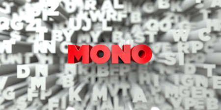 MONO -  Red text on typography background - 3D rendered royalty free stock image. This image can be used for an online website banner ad or a print postcard.