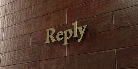 Reply - Bronze plaque mounted on maple wood wall  - 3D rendered royalty free stock picture. This image can be used for an online website banner ad or a print postcard.