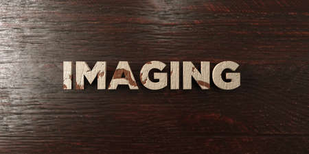 Imaging - grungy wooden headline on Maple  - 3D rendered royalty free stock image. This image can be used for an online website banner ad or a print postcard.